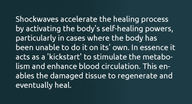 Shockwaves accelerate the healing process by activating the body's self-healing powers, particularly in cases where the body has been unable to do it on its' own. In essence it acts as a 'kickstart' to stimulate the metabolism and enhance blood circulation. This enables the damaged tissue to regenerate and eventually heal.